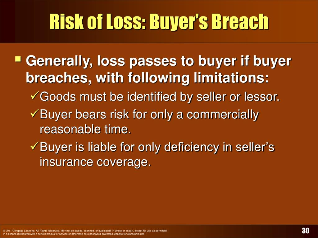 Risk of Loss: Buyer's Breach