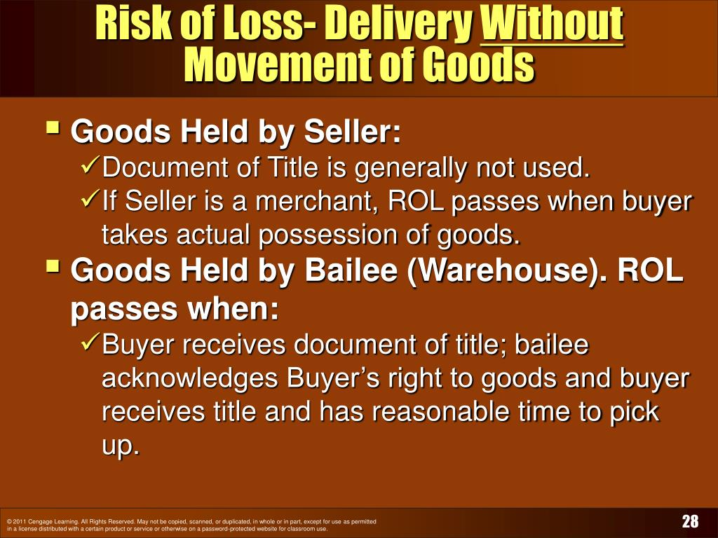 Risk of Loss- Delivery