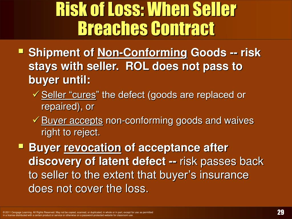 Risk of Loss: When Seller