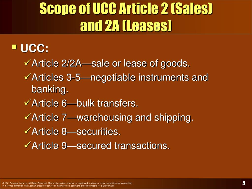 Scope of UCC Article 2 (Sales)