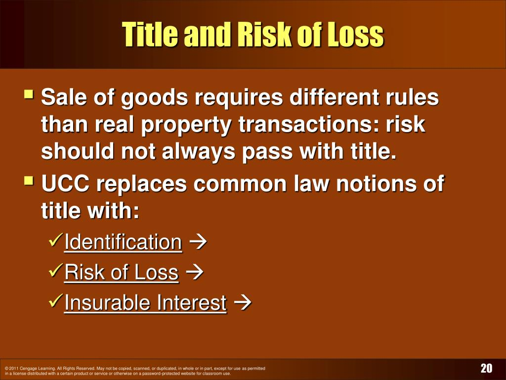 Title and Risk of Loss