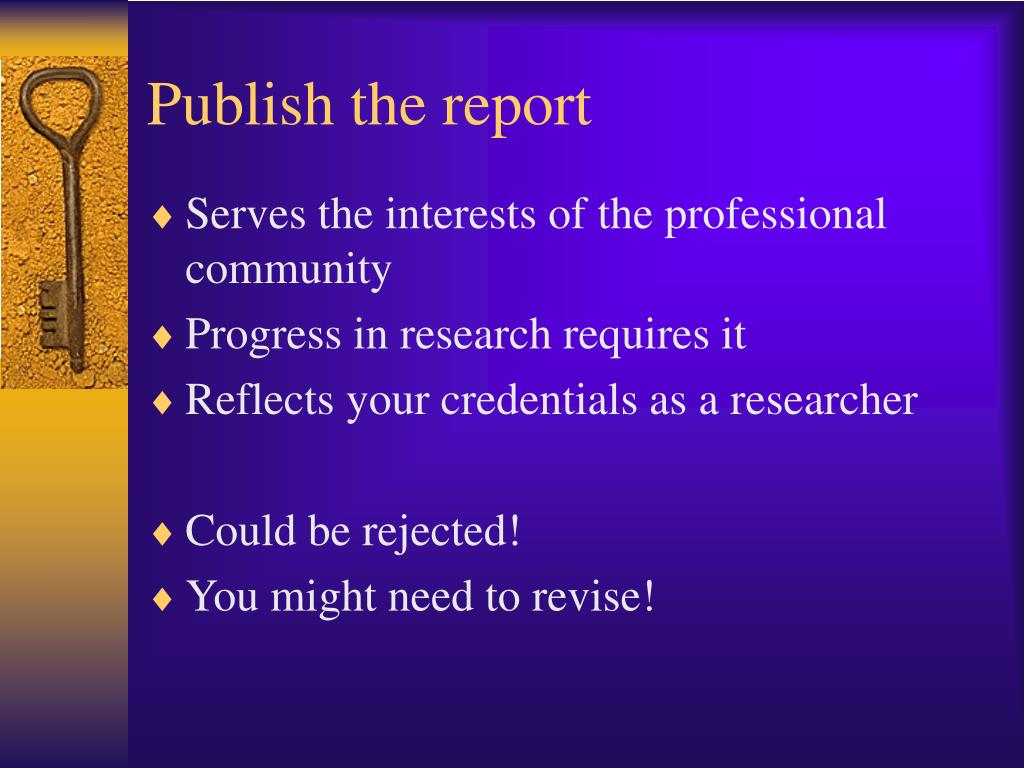 Publish the report