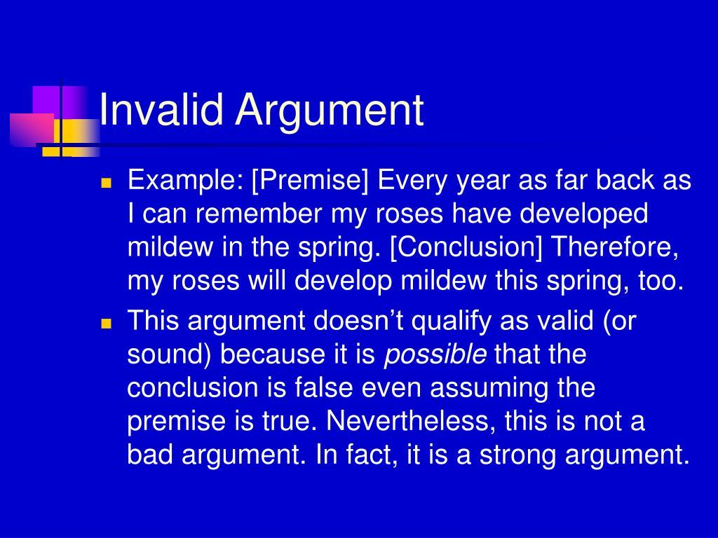 Invalid Argument