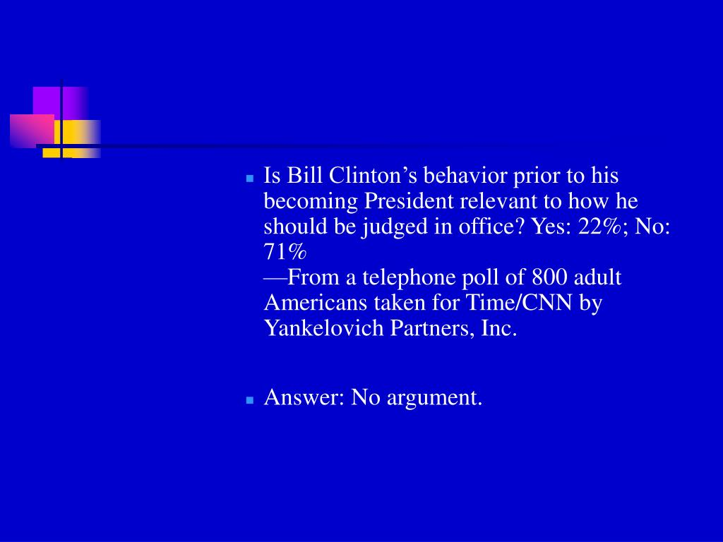 Is Bill Clinton's behavior prior to his becoming President relevant to how he should be judged in office? Yes: 22%; No: 71%
