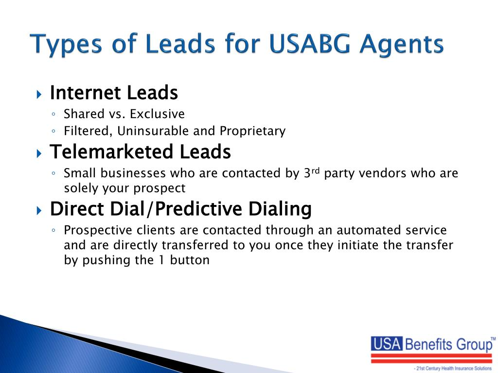 Types of Leads for USABG Agents