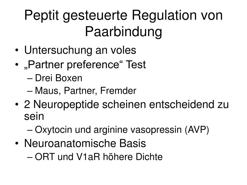 Peptit gesteuerte Regulation von Paarbindung