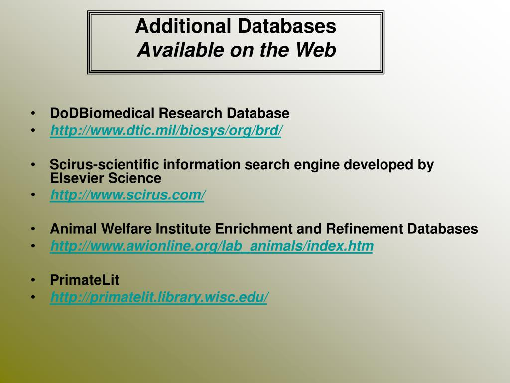 Additional Databases