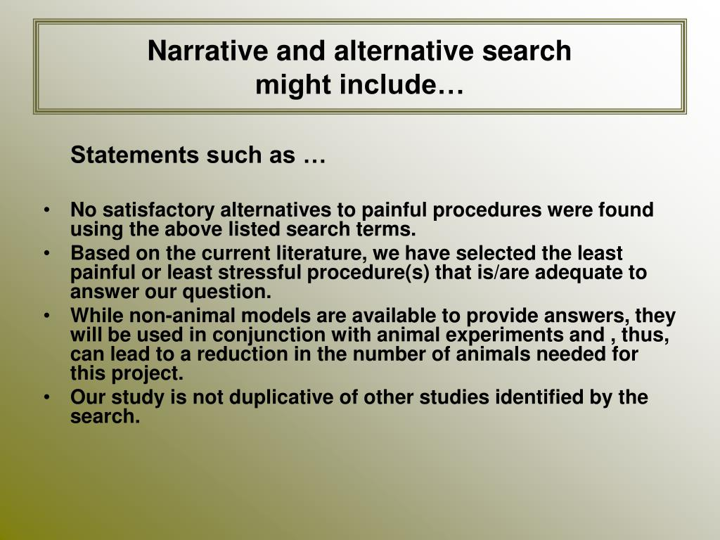Narrative and alternative search