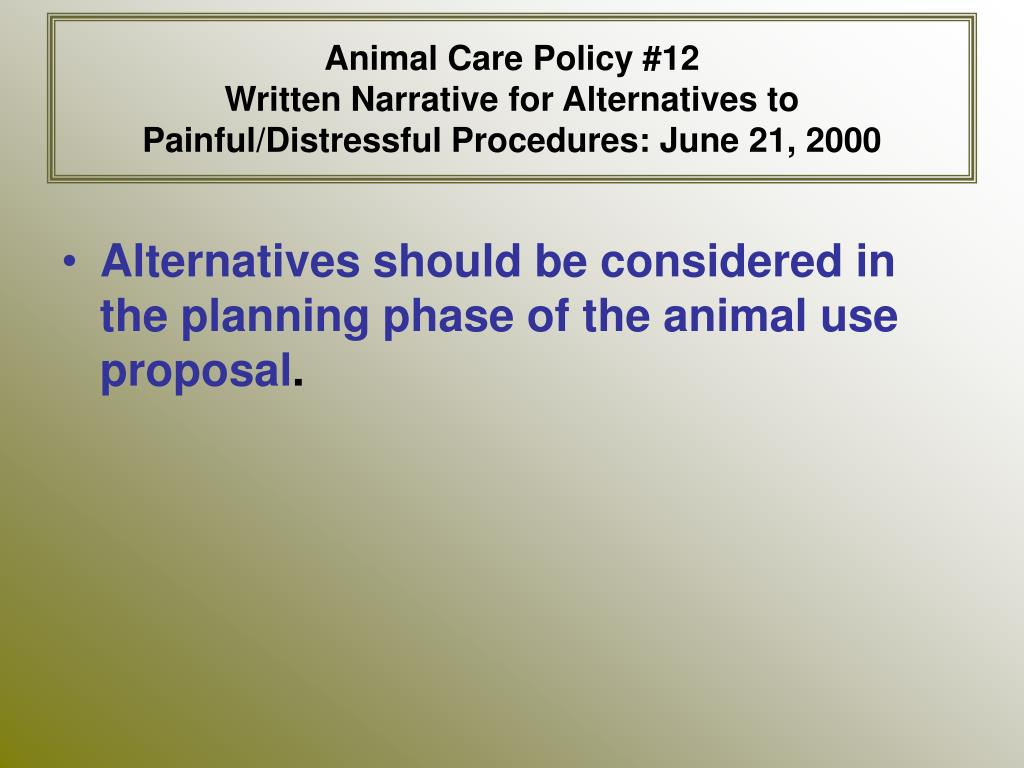 Animal Care Policy #12