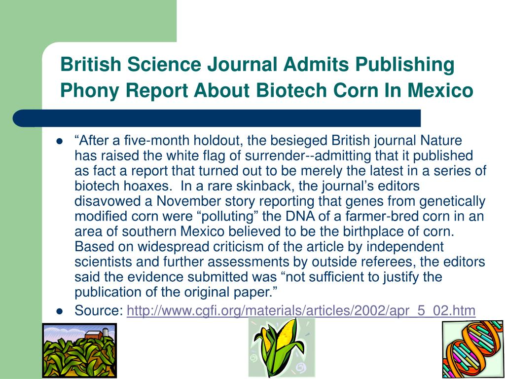 British Science Journal Admits Publishing Phony Report About Biotech Corn In Mexico