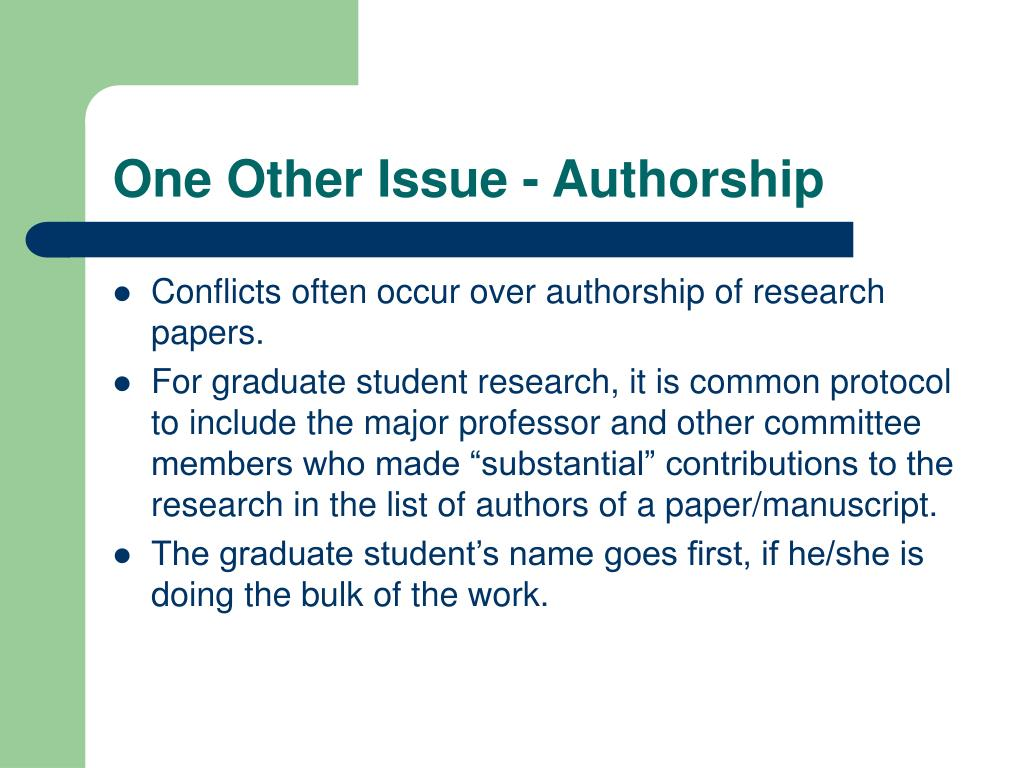 One Other Issue - Authorship