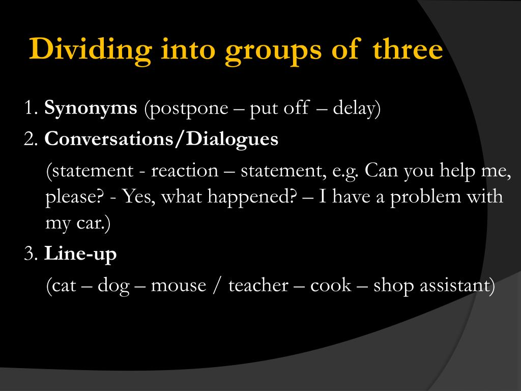 Dividing into groups of three