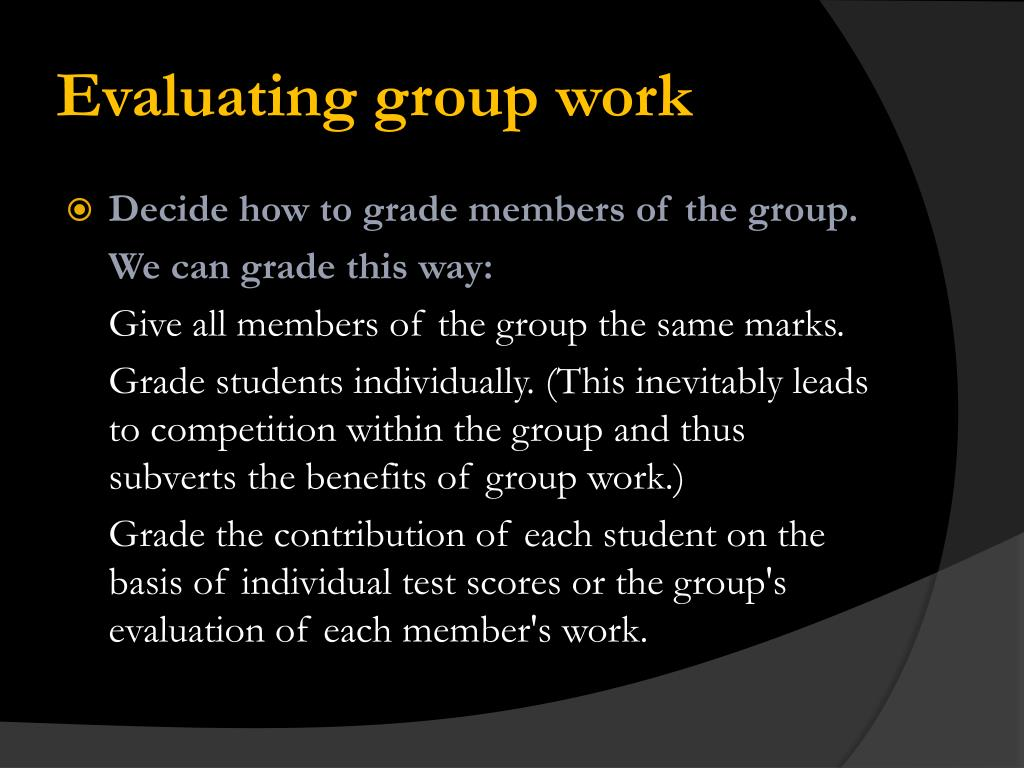 Evaluating group work