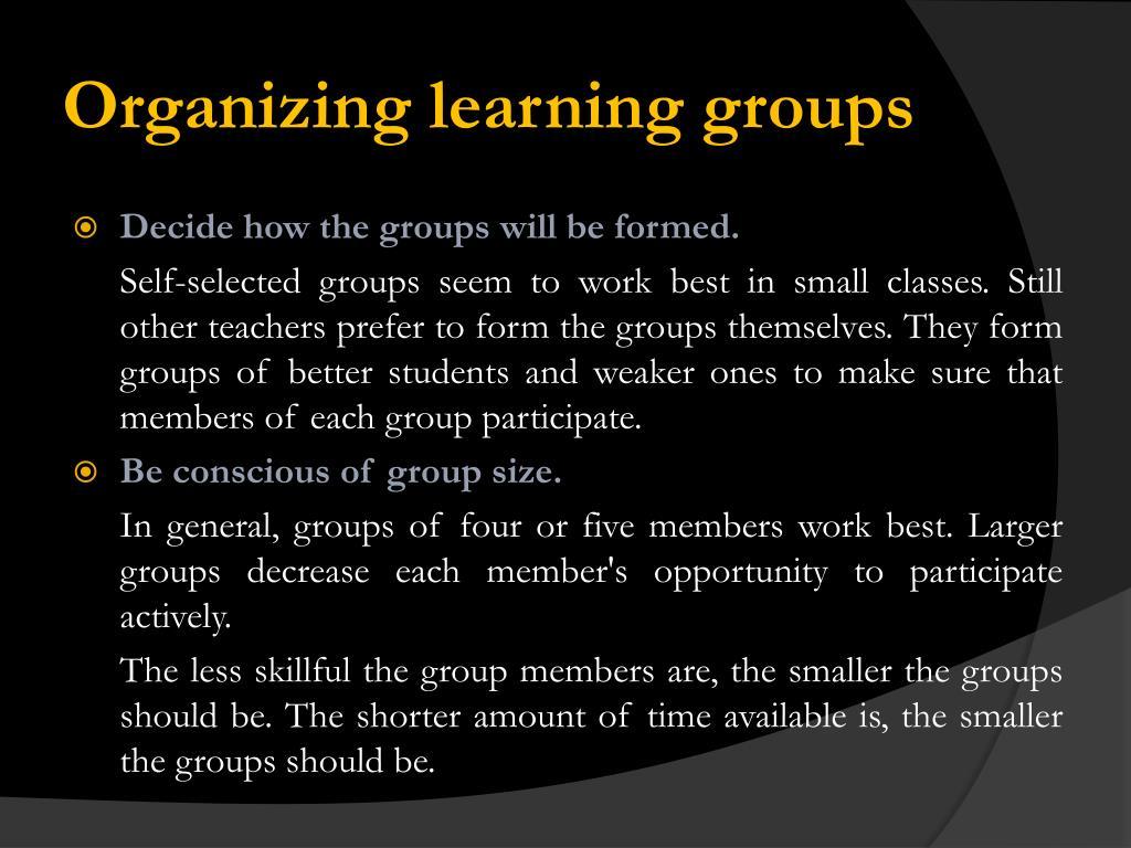 Organizing learning groups