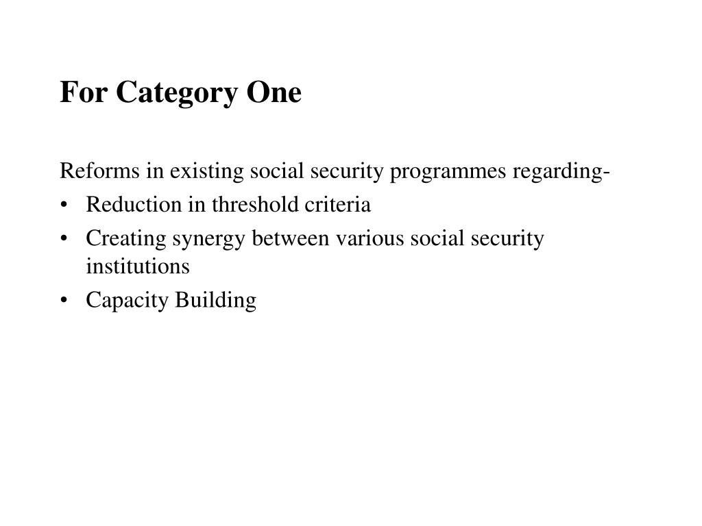 For Category One