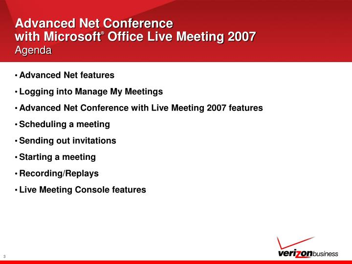 Advanced net conference with microsoft office live meeting 2007 agenda