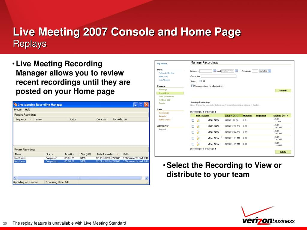 Live Meeting 2007 Console and Home Page