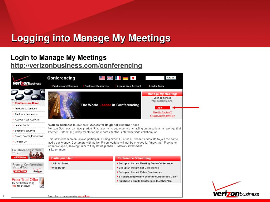 Logging into Manage My Meetings
