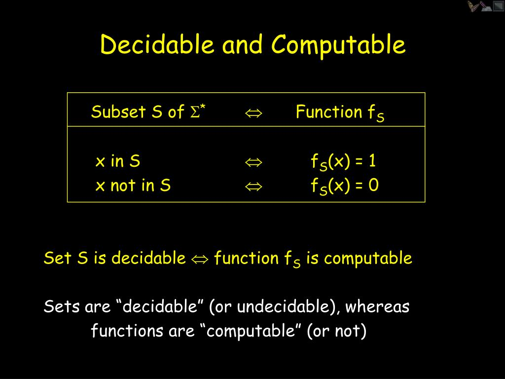 Decidable and Computable