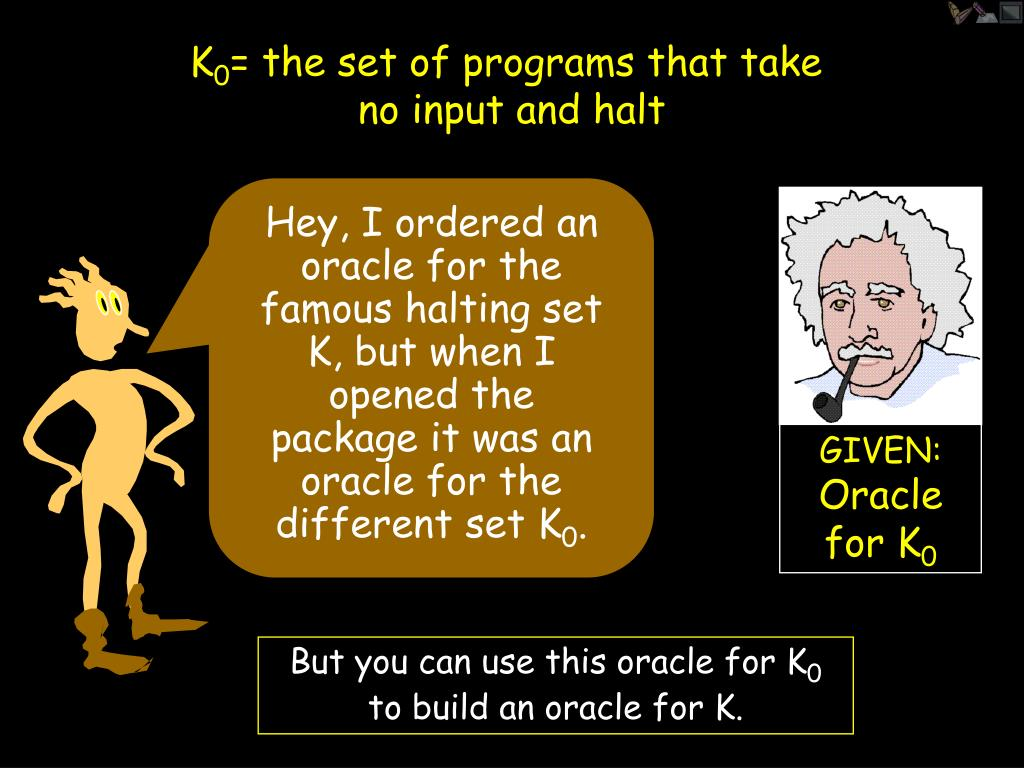 Hey, I ordered an oracle for the famous halting set K, but when I opened the package it was an oracle for the different set K