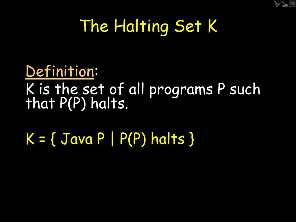 The Halting Set K