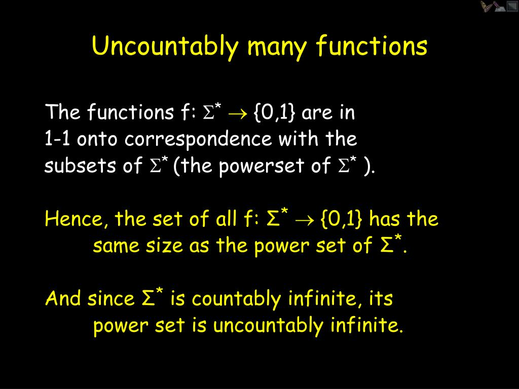 Uncountably many functions