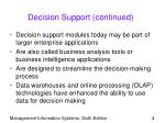 decision support continued