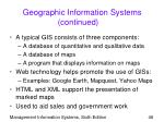 geographic information systems continued