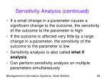 sensitivity analysis continued