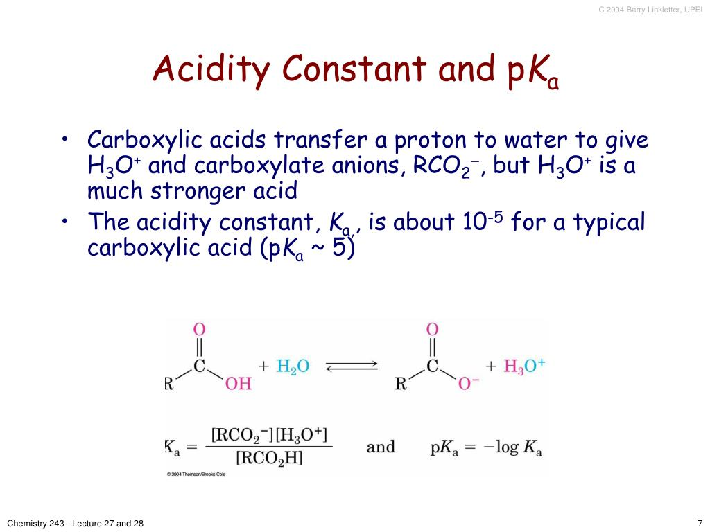 Acidity Constant and p