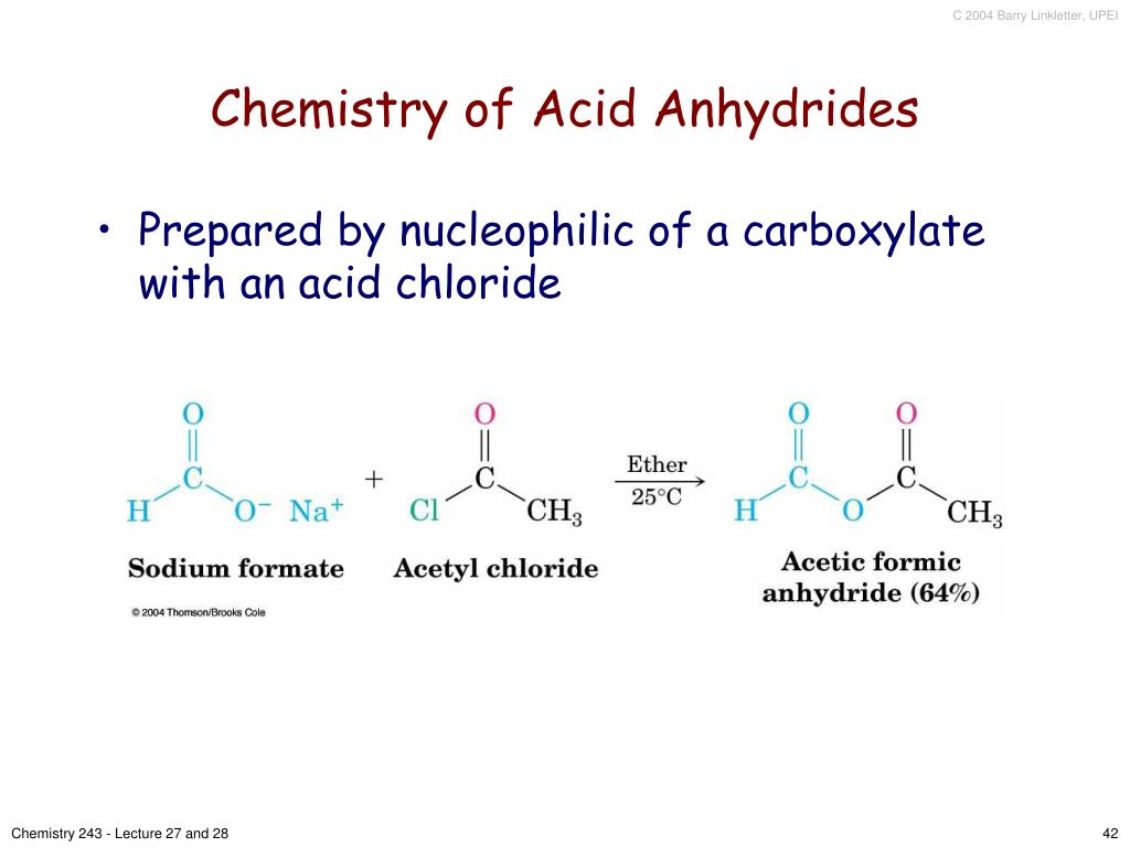 Chemistry of Acid Anhydrides