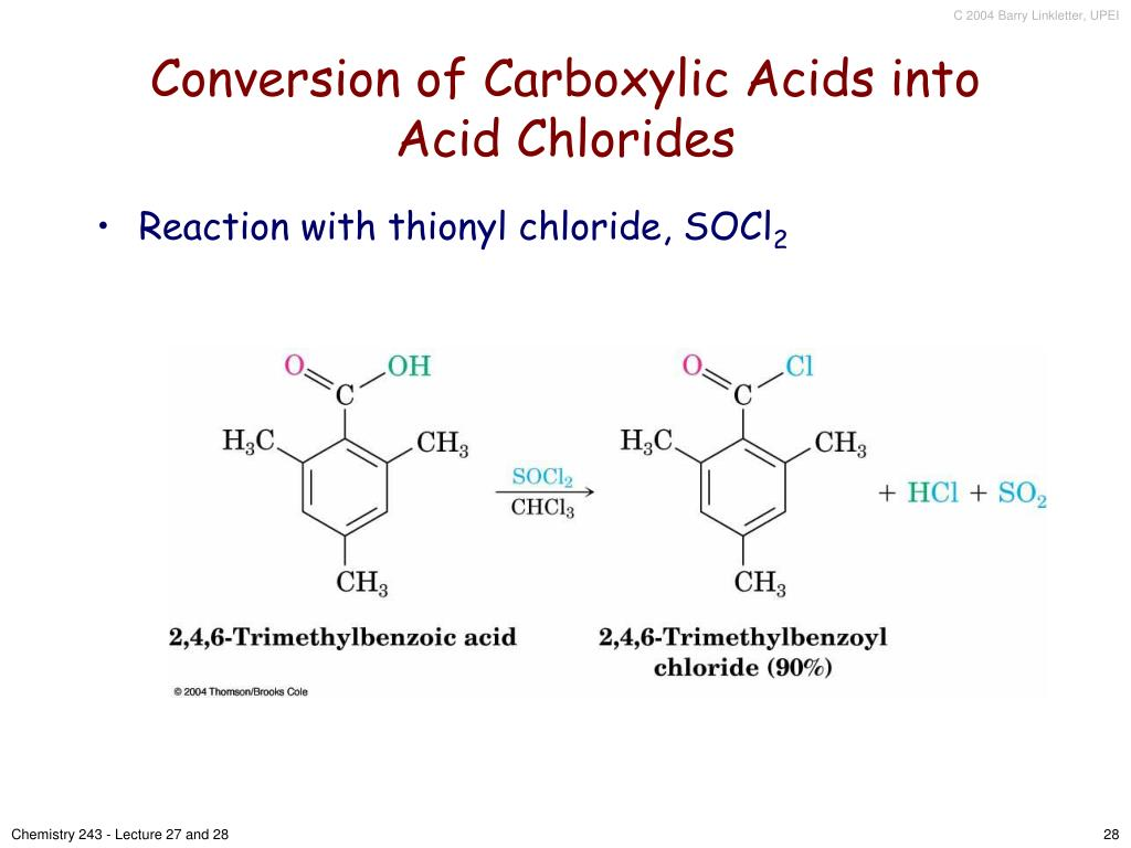 Conversion of Carboxylic Acids into Acid Chlorides