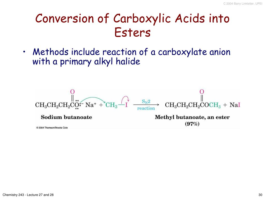 Conversion of Carboxylic Acids into Esters