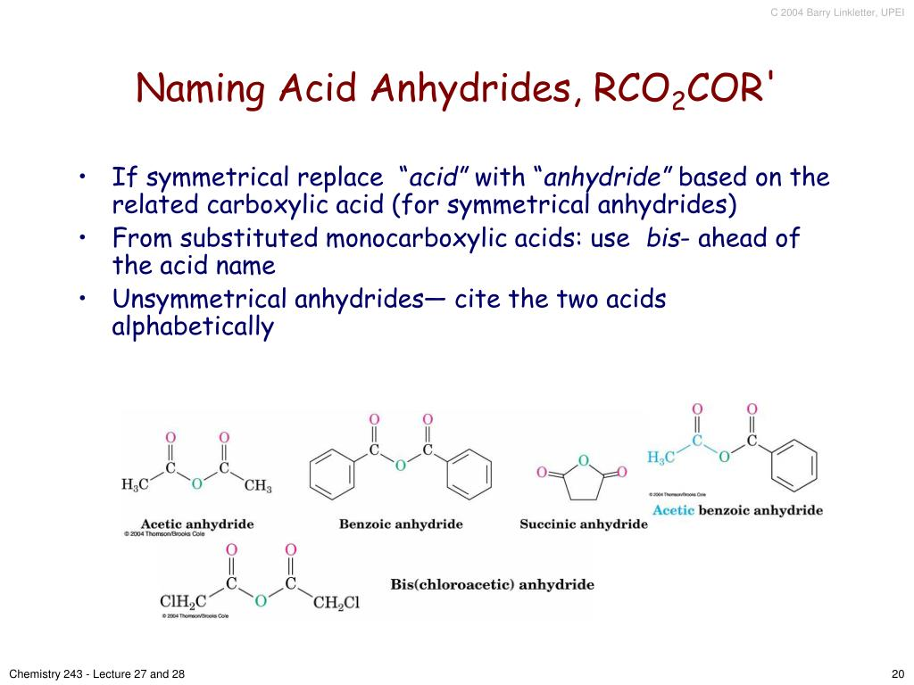 Naming Acid Anhydrides, RCO