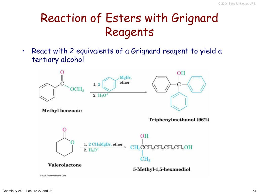 Reaction of Esters with Grignard Reagents