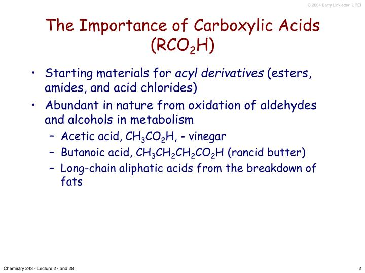 The importance of carboxylic acids rco 2 h