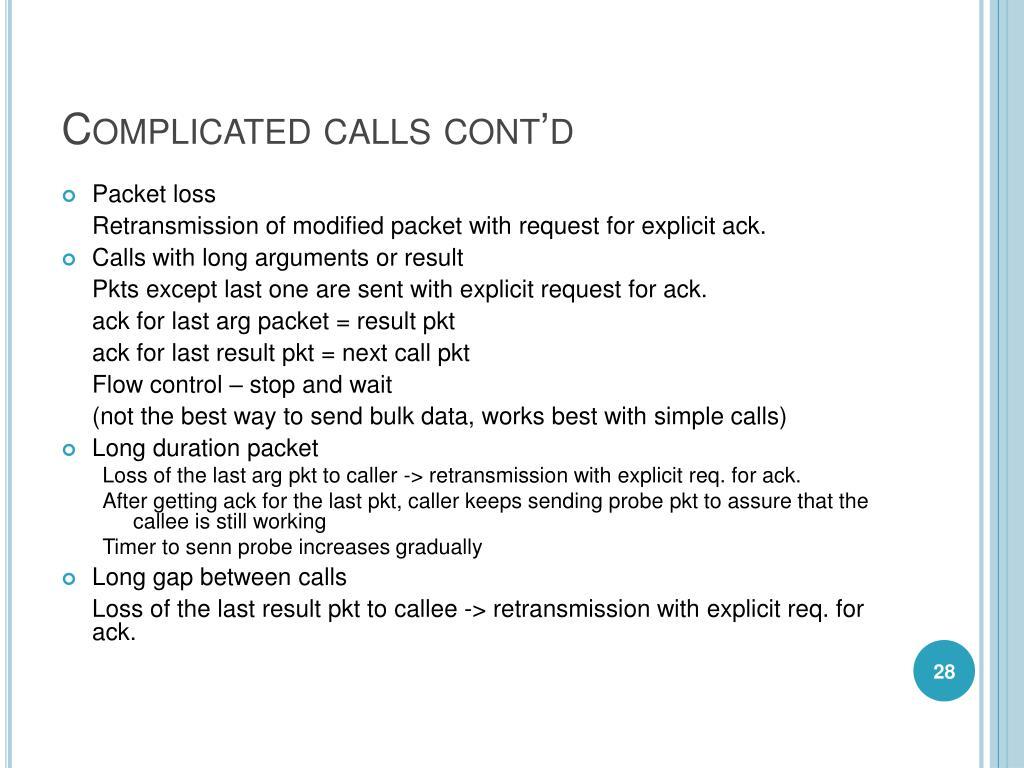 Complicated calls cont'd