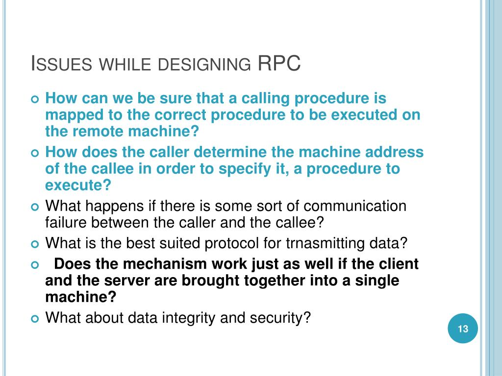 Issues while designing RPC