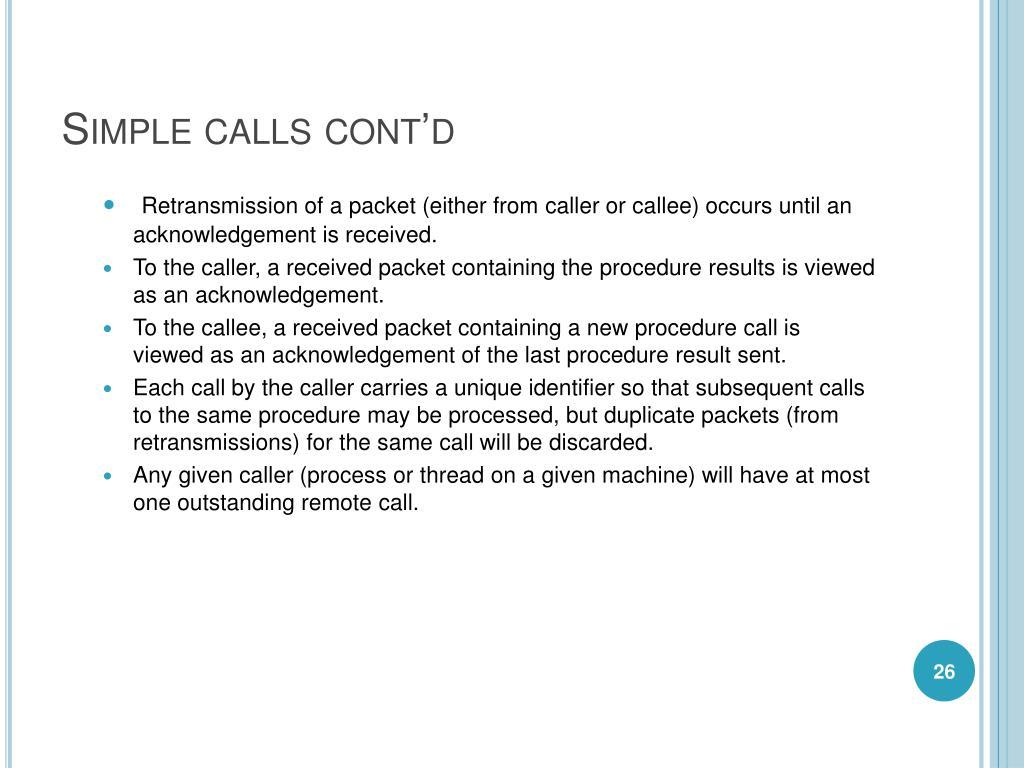 Simple calls cont'd