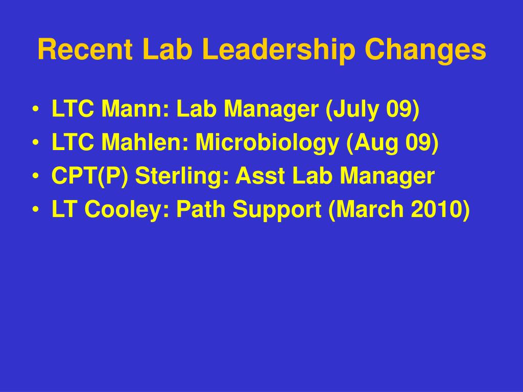 Recent Lab Leadership Changes