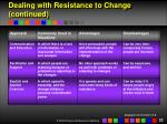 dealing with resistance to change continued