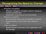 recognizing the need for change