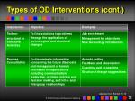 types of od interventions cont