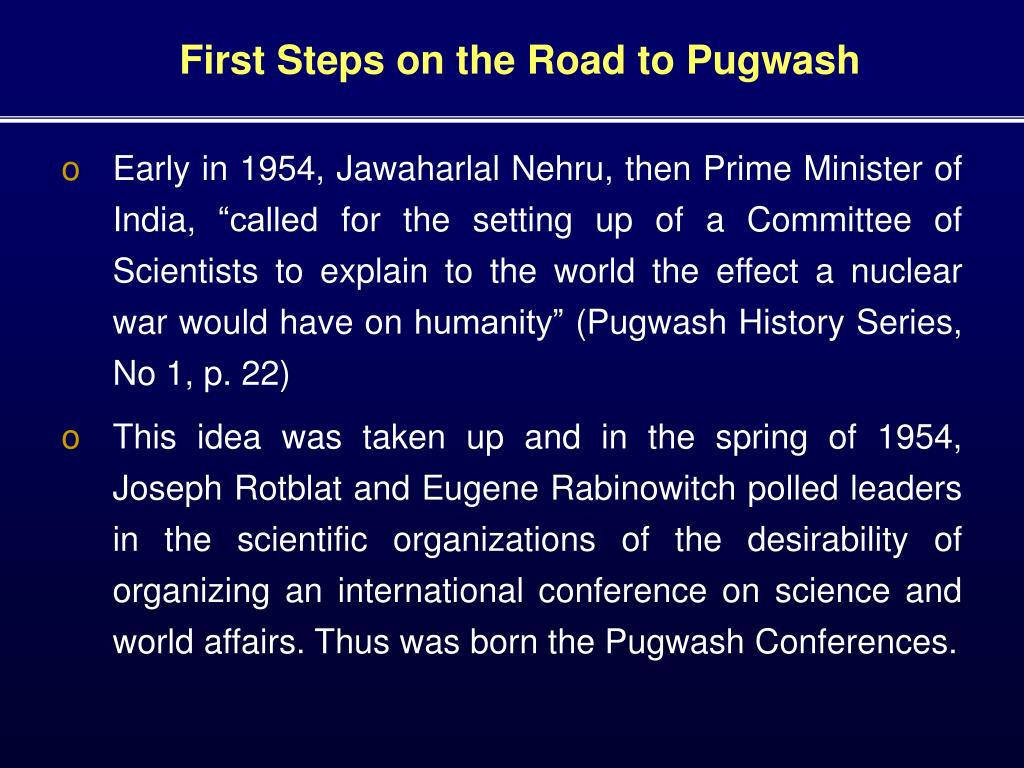 First Steps on the Road to Pugwash