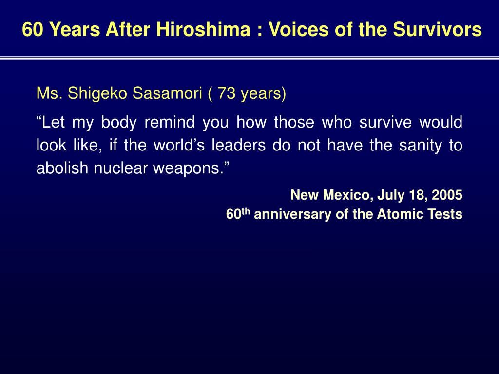 60 Years After Hiroshima : Voices of the Survivors