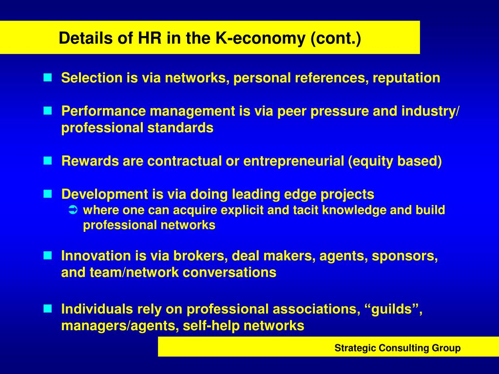 Details of HR in the K-economy (cont.)