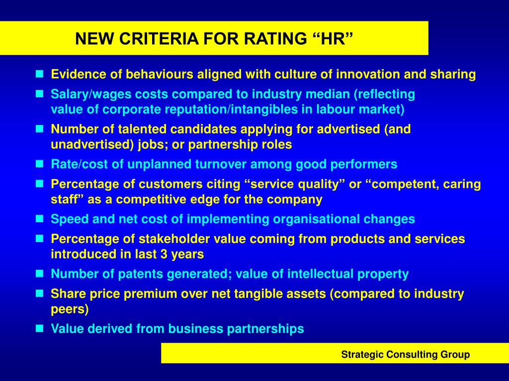 "NEW CRITERIA FOR RATING ""HR"""