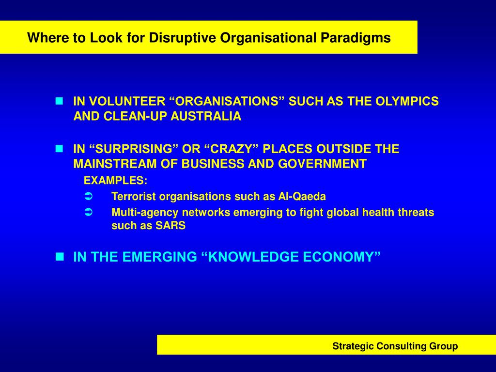 Where to Look for Disruptive Organisational Paradigms