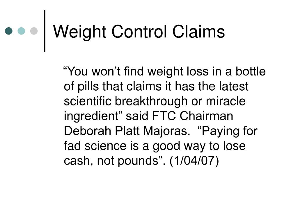 Weight Control Claims