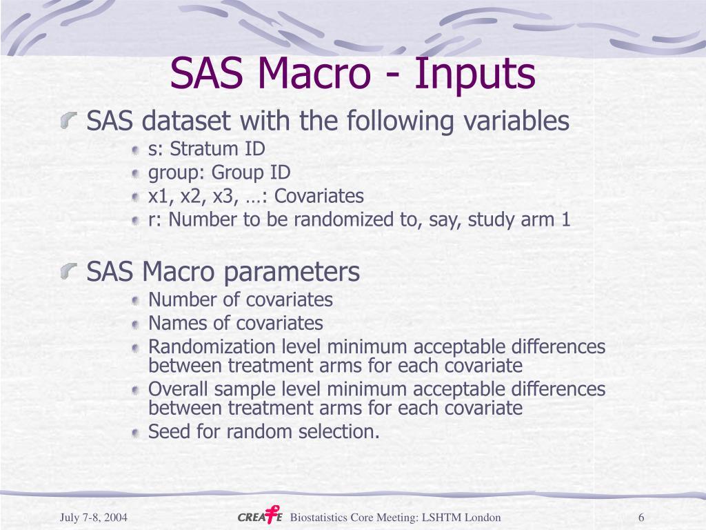 SAS Macro - Inputs